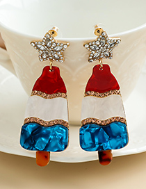 Fashion Color Alloy Diamond-studded Resin Popsicle Ear Studs