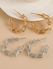 Fashion Gold Color Alloy Chain Semicircular Earrings