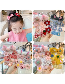 Fashion 11-piece Set Of Pink Bunny And Blue Flowers Flower Love Bunny Plaid Geometric Children Hairpin