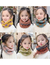 Fashion Light Green Stripes [orange Gray] Reference Age 1-10 Years Old Polka Dot Lattice Thick Knitted Wool Scarf