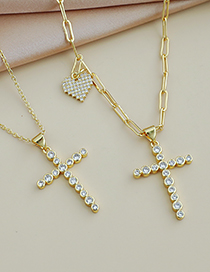 Fashion Gold Color Copper Inlaid Zircon Thick Chain Love Cross Necklace