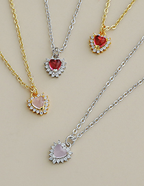 Fashion Silver Color Red Copper Inlaid Zircon Heart Necklace