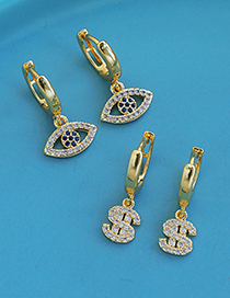 Fashion Gold Color Copper Inlaid Zircon Dollar Earrings