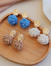 Fashion Khaki Alloy Portrait Plush Ear Studs