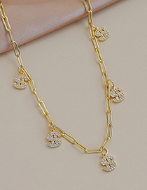 Fashion Gold Color Copper Inlaid Zircon Dollar Necklace