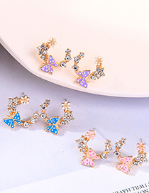 Fashion Peach Powder Diamond Drop Oil Butterfly C-shaped Flower Earrings