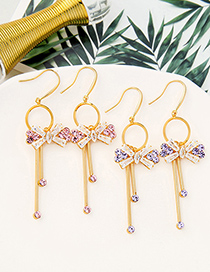 Fashion Taro Purple Detachable Long Tassel Earrings With Bow And Diamonds