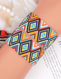 Fashion Red Rice Beads Geometric Handmade Beaded Bracelet