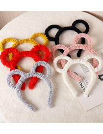 Fashion Black Bear Ears Plush Hollow Headband