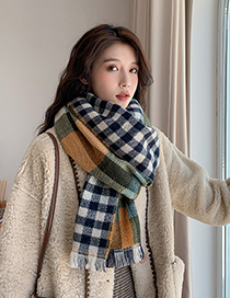 Fashion Blue Plaid Thickened Cashmere Double-sided Scarf