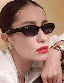 Fashion Solid White Frame Gray Piece Cat-eye Metal Hinge Resin Sunglasses