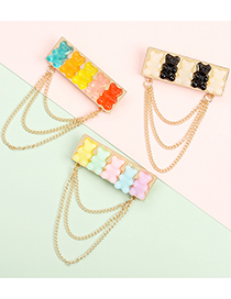 Fashion Mixed Silver Color Bear Chain Resin Alloy Geometric Brooch