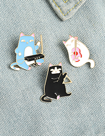 Fashion Blue Playing Guitar Cat Paint Enamel Alloy Badge