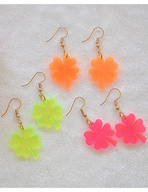 Fashion Fluorescent Orange Acrylic Four-leaf Clover Alloy Earrings
