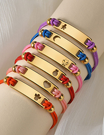 Fashion Color Rope Girl Titanium Steel Curved Brand Hand-woven Geometric Bracelet