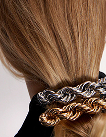 Fashion Gold Color Alloy Geometric Chain Hairpin