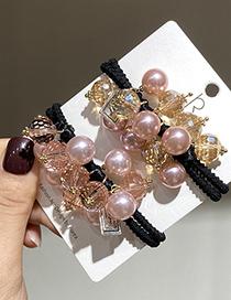 Fashion Gold Color Handmade Crystal Pearl Beaded Geometric Hair Rope