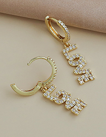 Fashion Gold Color Copper Inlaid Zircon Letter Happy Earrings