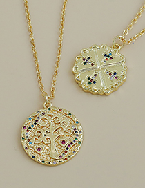 Fashion Gold Color Copper Inlaid Zircon Tree Of Life Necklace