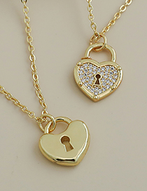 Fashion Gold Color Copper Love Lock Necklace
