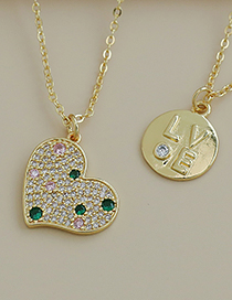 Fashion Gold Color Copper Inlaid Zircon Heart Necklace