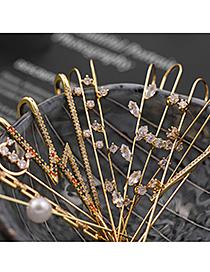 Fashion Moon Pierced Micro-inlaid Zircon Surround Geometric Contour Ear-hook Earrings