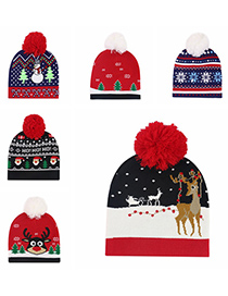 Fashion Striped Snowflake Christmas Snowman Elk Knitted Jacquard Hat With Ball
