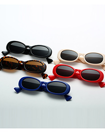 Fashion Scarlet Oval Small Frame Wide Mirror Sunglasses