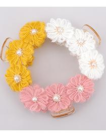 Fashion Pink Resin Cotton Thread Flower Imitation Pearl Catch Clip
