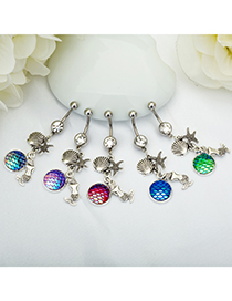 Fashion Dark Blue + Green Yulin Stainless Steel Diamond-studded Starfish Geometric Alloy Belly Button Nail