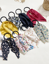 Fashion Melange Printing Small Floral Print Streamer Solid Color Hair Rope