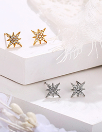 Fashion Silver Color Diamond And Star Alloy Earrings