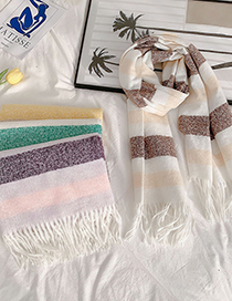 Fashion Coffee Yellow Stripes Fringe Stripes Contrast Thickened Collar