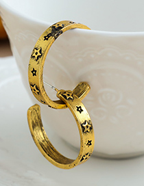 Fashion Golden Alloy Five-pointed Star Semicircular Earrings