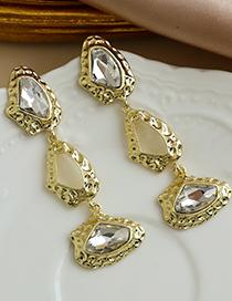 Fashion Golden Alloy Diamond Geometric Shape Earrings