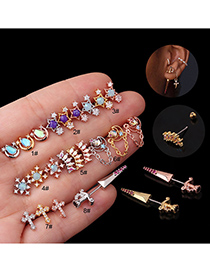 Fashion Rose Gold 8# Micro-inlaid Zircon Stainless Steel Geometric Earrings