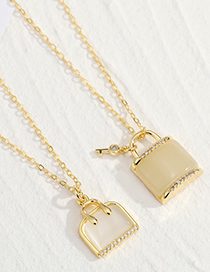 Fashion Lock Necklace Metal Lock-shaped Diamond Bag Necklace