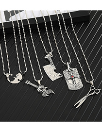 Fashion Cross Alloy Pendant Scissors Cross Geometric Necklace
