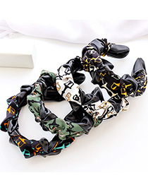 Fashion Green Fabric Pu Leather Color Matching Printed Pleated Headband