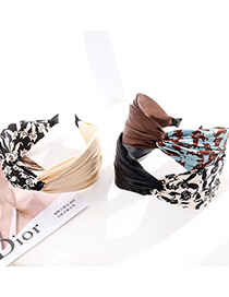 Fashion Cream Color Fabric Printed Contrast Color Cross Wide-brimmed Headband