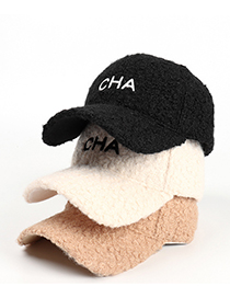 Fashion Off-white Letter Embroidery Lamb Wool Baseball Cap