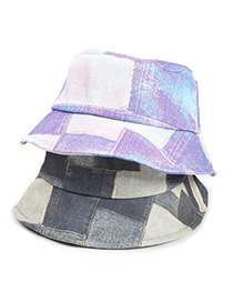 Fashion Purple Tie-dye Checkered Stitching Fisherman Hat