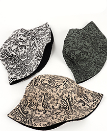 Fashion Off-white Cashew Print Double-sided Cotton Fisherman Hat