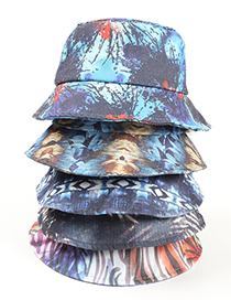 Fashion Mixing 5 Tie-dye Leaf Print Ink Painting Fisherman Hat