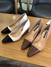 Fashion Brown High Block Heel Square Toe Color Matching Shoes