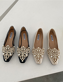 Fashion Apricot Hand-beaded Flat Shoes With Square Toe