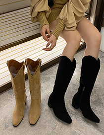 Fashion Apricot Thick Heel Pointed Toe Long Barrel Western Cowboy Rider Boots
