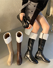 Fashion Milk Tea High Tube Thick Heel Square Toe Furry Rider Boots