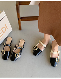 Fashion Apricot Square Buckle Flat Bottom Half Slippers