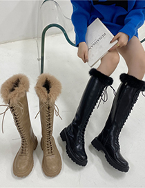 Fashion Milk Tea Chunky Heel Platform Round Toe Lace-up Mink High-top Martin Boots